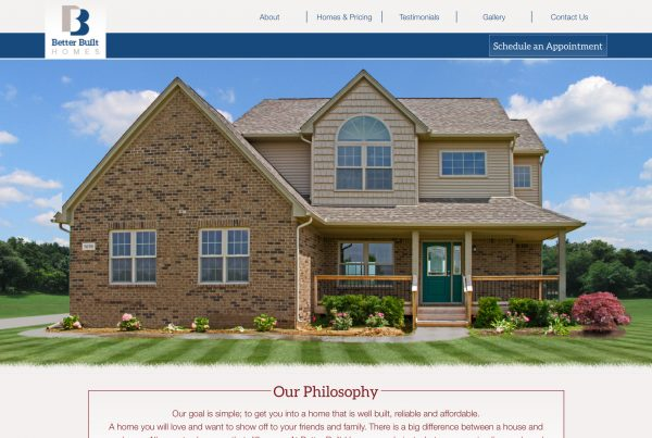 Better Built Homes wordpress website